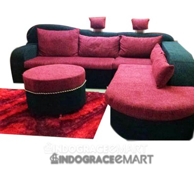 Indograce Corner Sofa Set (Red / Black)