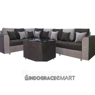 Indograce Corner Sofa Set (Grey / Black)