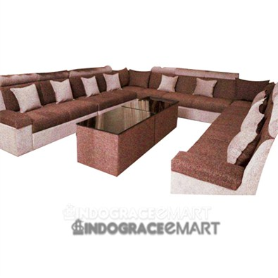Indograce Corner Sofa Set (Brown /White)