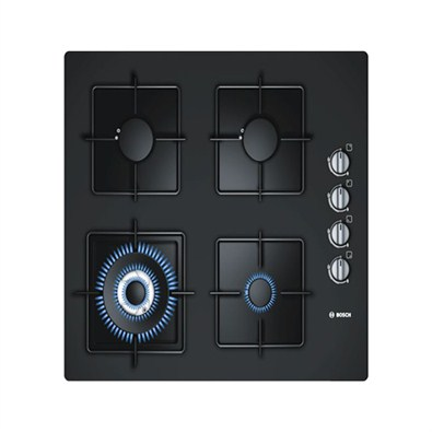 Bosch Black Hard Glass Gas Hob With Integrated Controls (POH616B1TI)