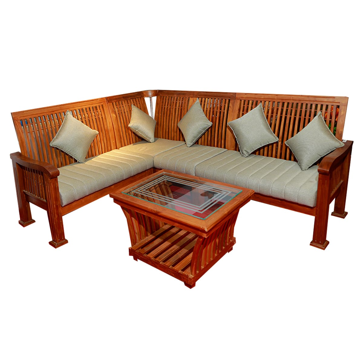 Teak Wood Sofa With Teapoy
