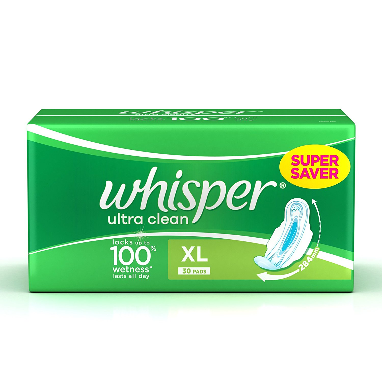 Whisper Ultra Clean Sanitary Pads - XL Wings (30 Pads)