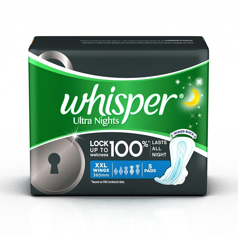 Whisper Ultra Nights XXL+ Wings - 5 Pads