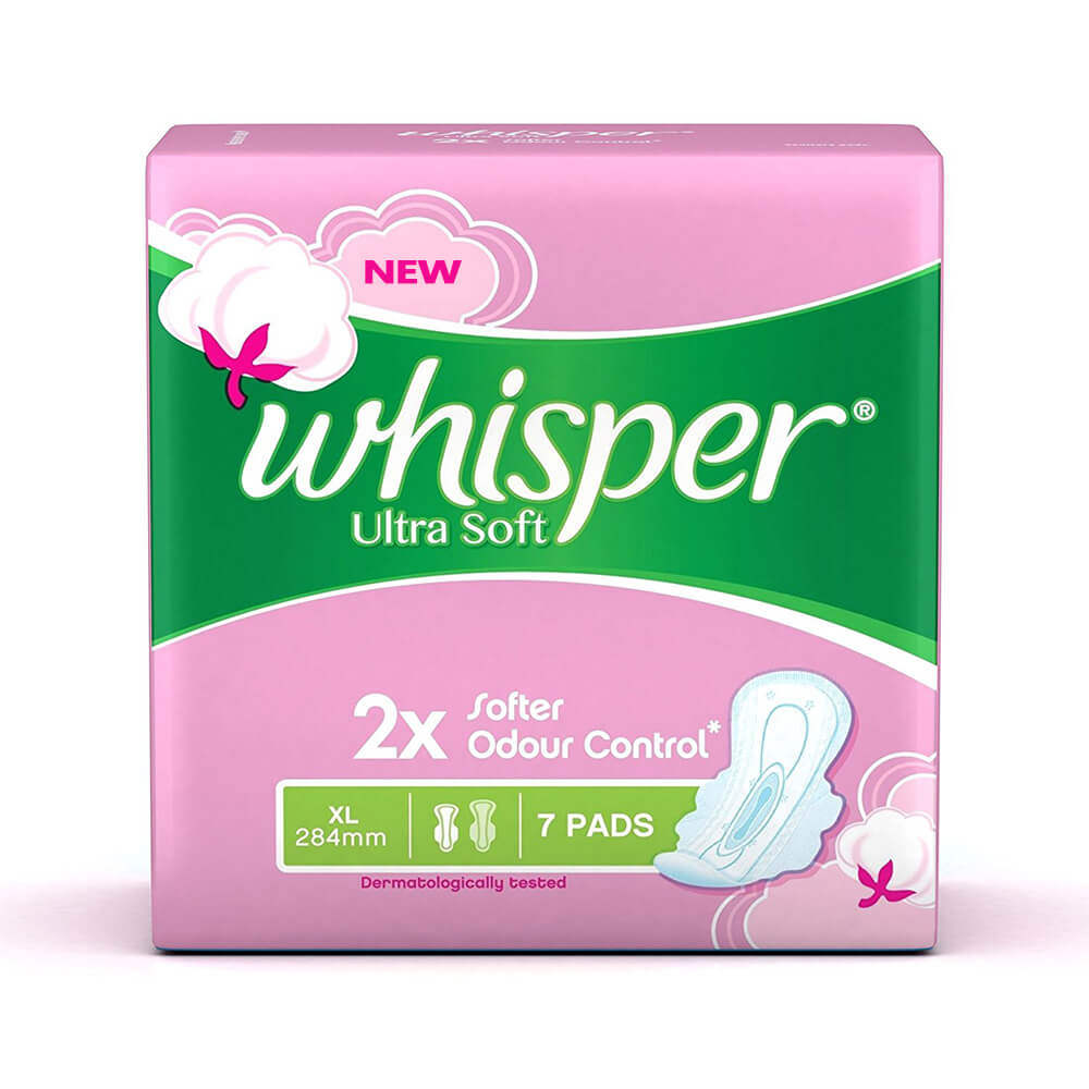 Whisper Ultra Soft Sanitary Pads XL (7 Count)