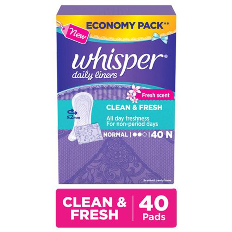 Whisper Clean and Fresh Daily Liners - 40 Count