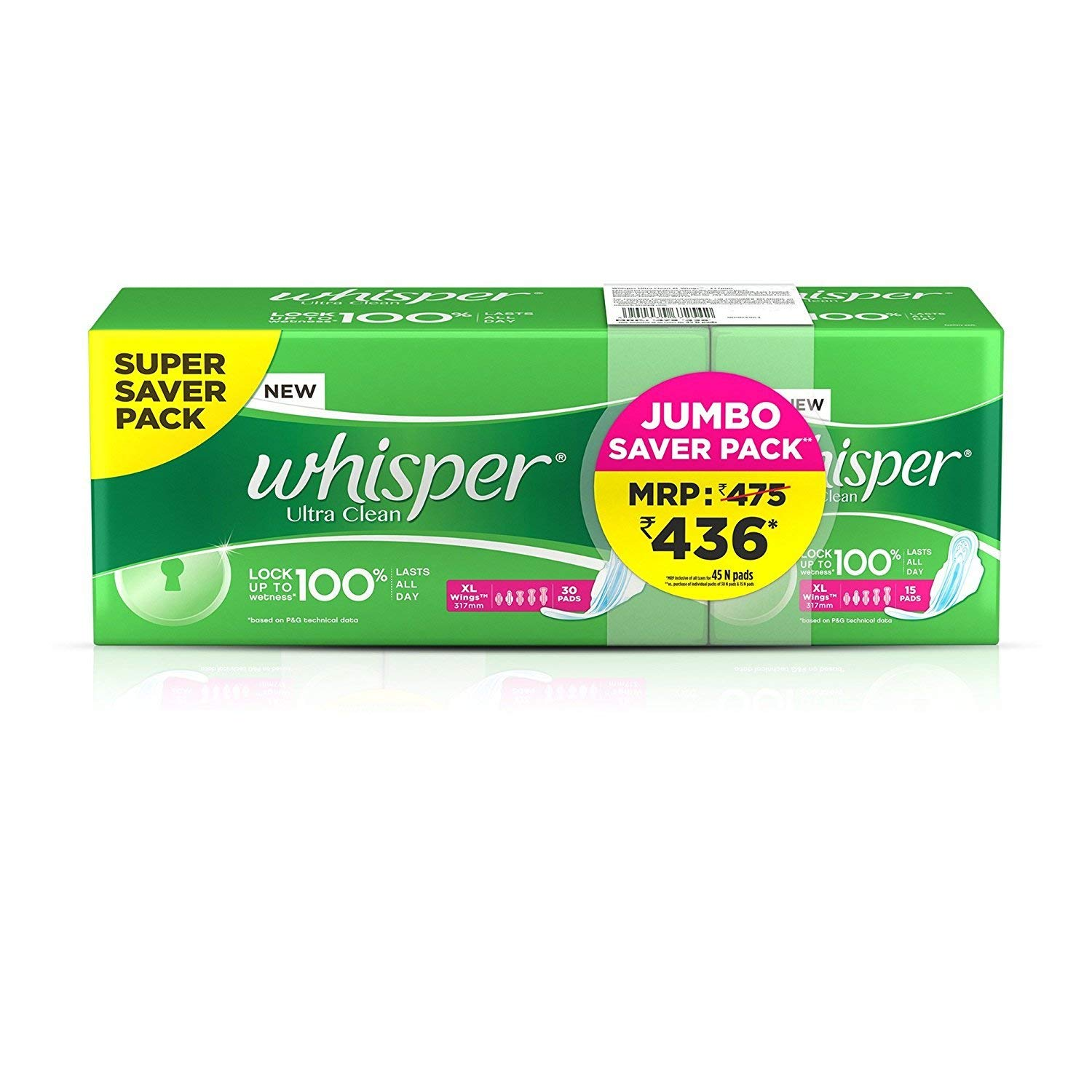 Whisper Ultra Clean Sanitary Pads - XL Wings (45 Pads)