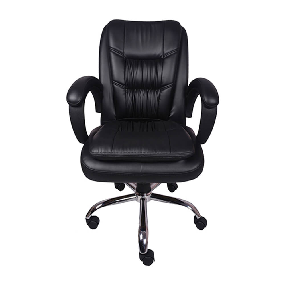 VJ Interior Arrugar Mid Back Chair Black 20 x 21 x 30 Inch VJ-0138