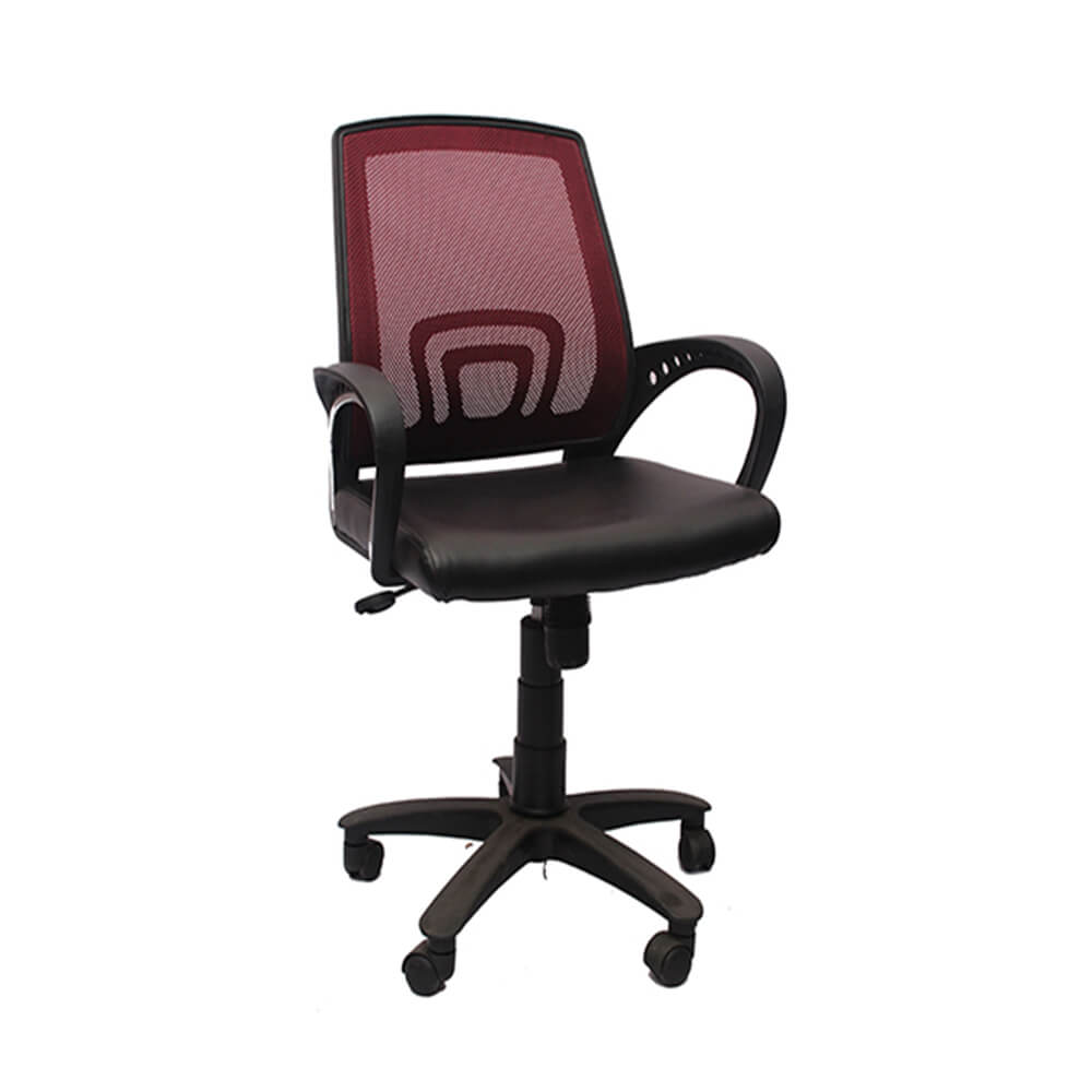 VJ Interior Visitor Chair Red and Black 18 x 17 x 37 Inch VJ-165-VISITOR-LB