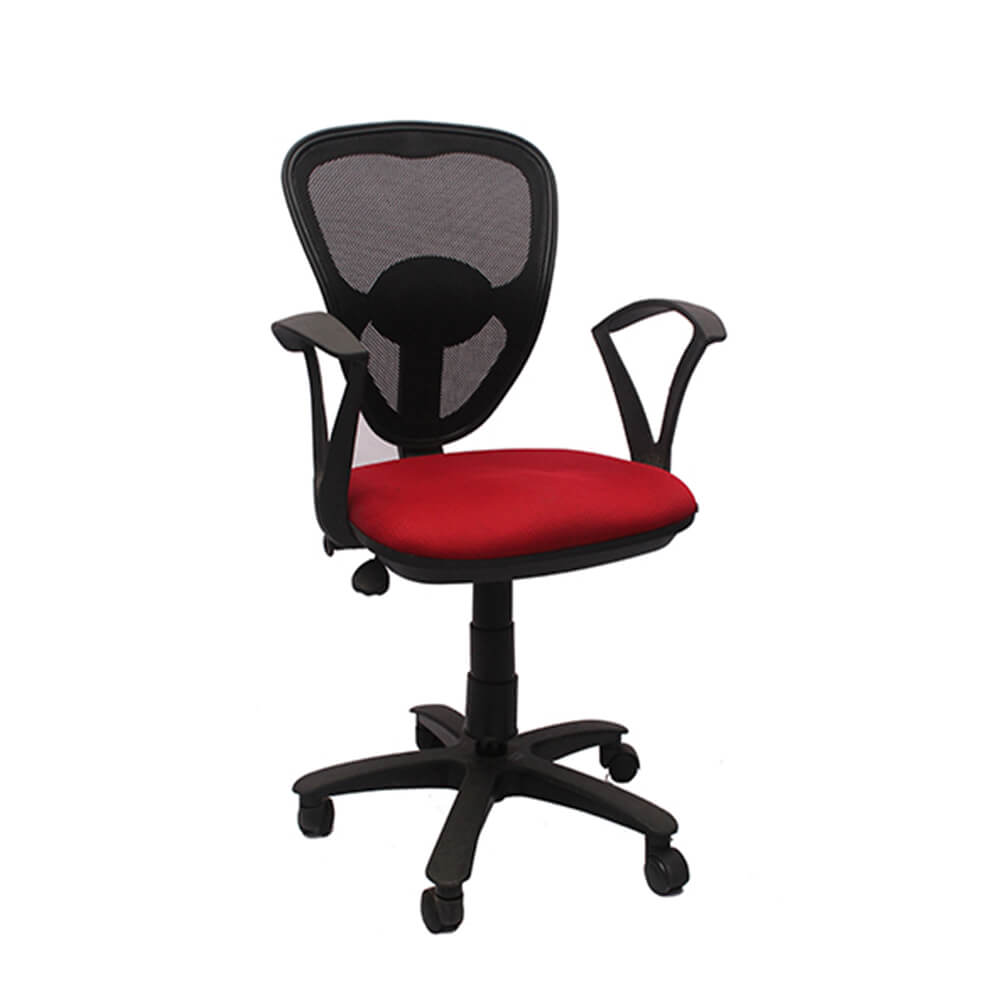 VJ Interior Visitor Chair Red and Black 18 x 17 x 37 Inch VJ-185-VISITOR-LB