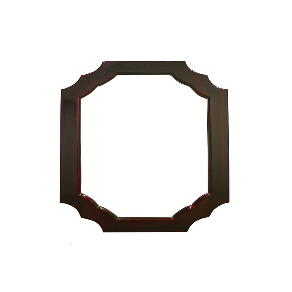 Curved Wall Mirror in Solid Wood Frame