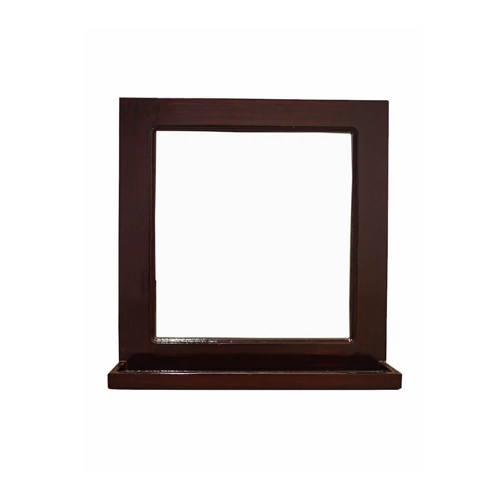 Square Wall Mirror in Solid Wood Frame