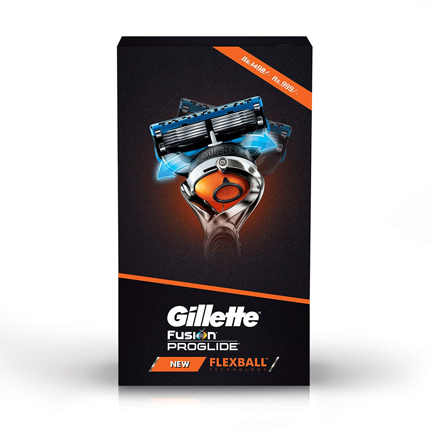 Gillette Flexball Pro Glide Gift Pack and Flexball Razor with 4 Flexball Cartridge