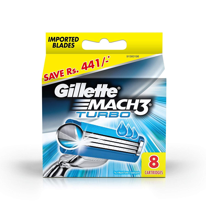 Gillette Mach 3 Turbo Manual Shaving Razor Blades - 8s Pack (Cartridge)
