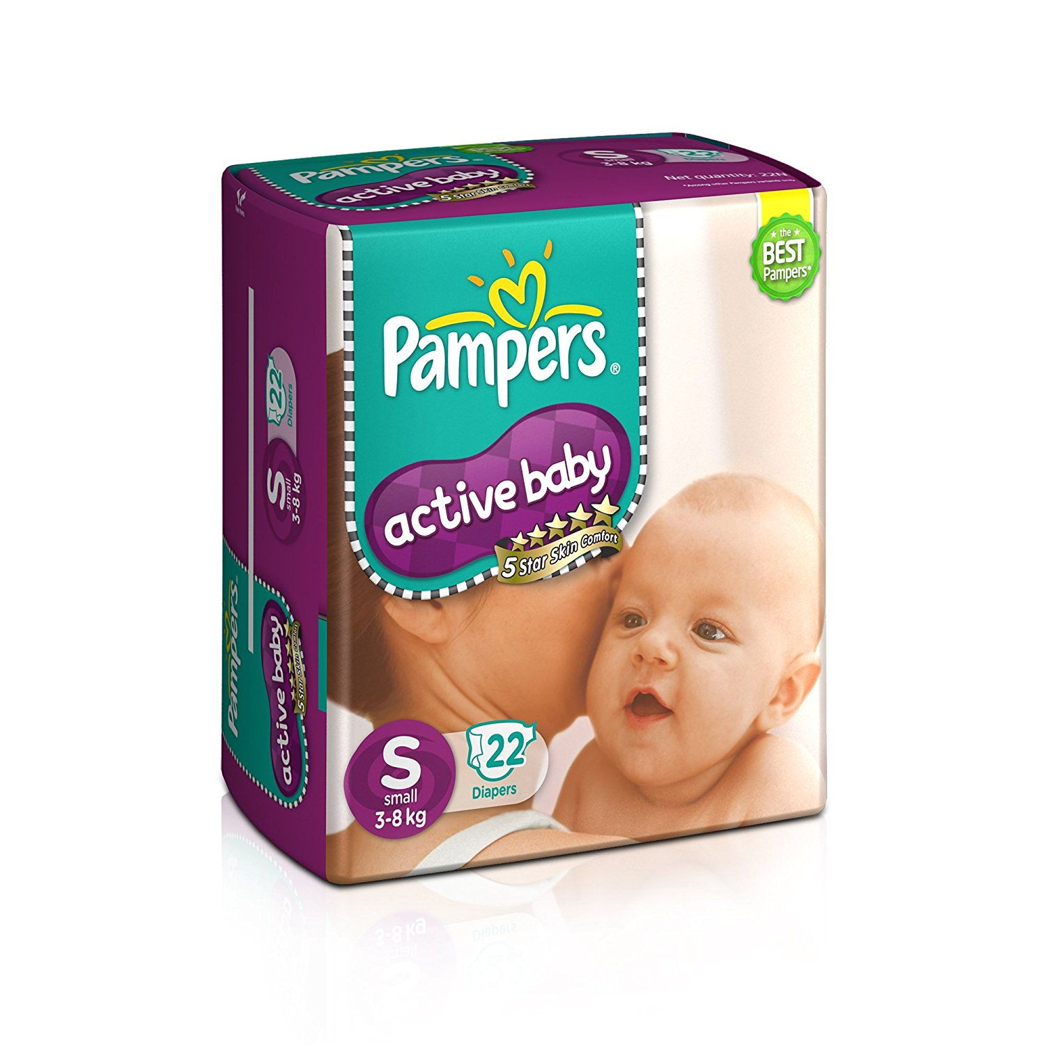 Pampers Active Baby Small Size Diapers (22Count)