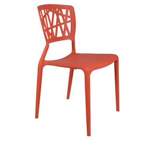 VJ Interior Eliminar Plastic Molded Chair Orange 16 x 17 x 15 Inch VJ-0062