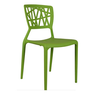 VJ Interior Eliminar Plastic Molded Chair Green 16 x 17 x 15 Inch VJ-0068