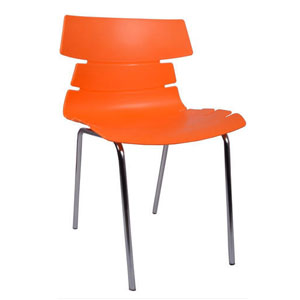 VJ Interior Alisar Steel Frame Plastic Chair Red 17 x 18 x 14 Inch VJ-0198