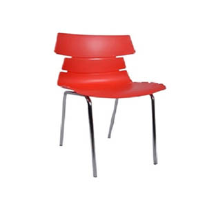 VJ Interior Alisar Steel Frame Plastic Chair Orange 17 x 18 x 14 Inch VJ-0197