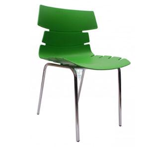 VJ Interior Alisar Steel Frame Plastic Chair Green 17 x 18 x 14 Inch VJ-0281