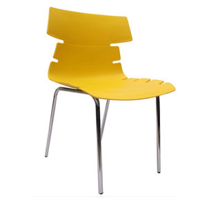 VJ Interior Alisar Steel Frame Plastic Chair Yellow 17 x 18 x 14 Inch VJ-0287