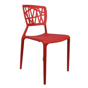 VJ Interior Eliminar Plastic Molded Chair Red 16 x 17 x 15 Inch VJ-0215