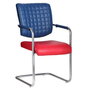 VJ Interior Aleman Red and Blue Color Visitor Chair