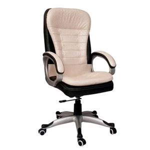 VJ Interior Executive HB Chair White and Black 21 x 21 x 30 Inch VJ-369