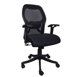 VJ Interior Calvo Mesh Medium Back Chair Black 22 x 22 x 29 Inch VJ-0104