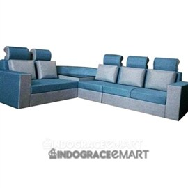 Indograce Corner Sofa Set (White/ Blue)