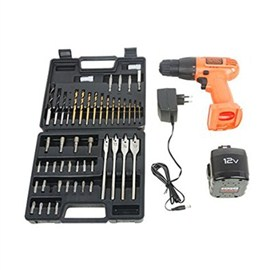 BLACK+DECKER -Cordless Ni-Cd Drill/Driver with 50 Accessories Kitbox (CD121K50)