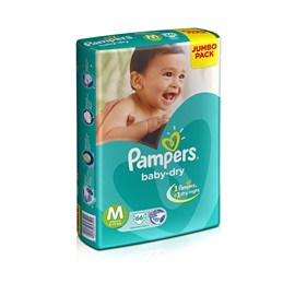 Pampers Baby Dry Medium Size Diapers - Jumbo Pack