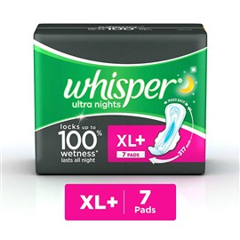 Whisper Ultra Overnight Sanitary Pads XL Plus wings (7 Count)