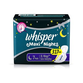 Whisper Maxi Over Night Sanitary Pads 7 no's