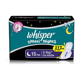 Whisper Maxi Over Night Sanitary Pads 15 no's