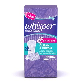 Whisper Clean and Fresh Daily Liners - 20 Count