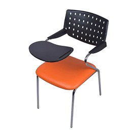 VJ Interior Alumnos Writing Chair Orange and Black 17 x 18 x 11 Inch VJ-0024