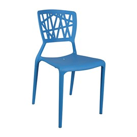 VJ Interior Eliminar Plastic Molded Chair Blue 16 x 17 x 15 Inch VJ-0058