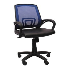 VJ Interior Visitor Chair Blue and Black 18 x 17 x 37 Inch VJ-157-VISITOR-LB