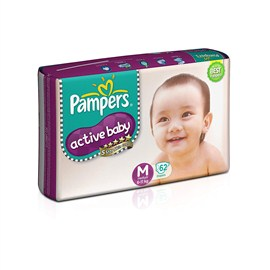 Pampers Active Baby Medium Size Diapers(62 Count)