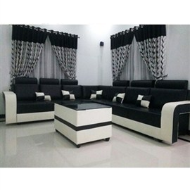 Indograce Corner Set Sofa (White / Black)