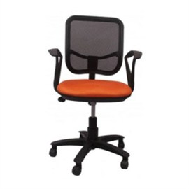 VJ Interior Executive Chair Orange and Black 21 x 23 x 48 Inch VJ-93-VISITOR-LB